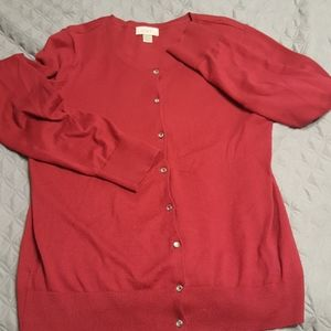 Ann Taylor red button down cardigan
